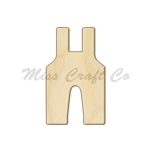 Overalls Wood Shape Cutout, Wood Craft Shape, Unfinished Wood, DIY Project. All Sizes Available, Small to Big. Made in the USA. 6 X 3.6 INCHES