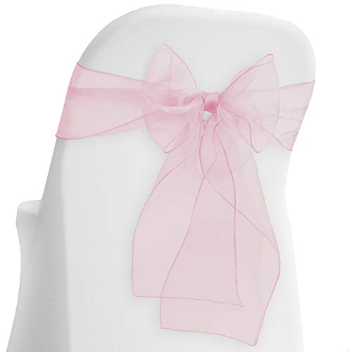 Lann's Linens - 10 Elegant Organza Wedding/Party Chair Cover Sashes/Bows - Ribbon Tie Back Sash - Pink