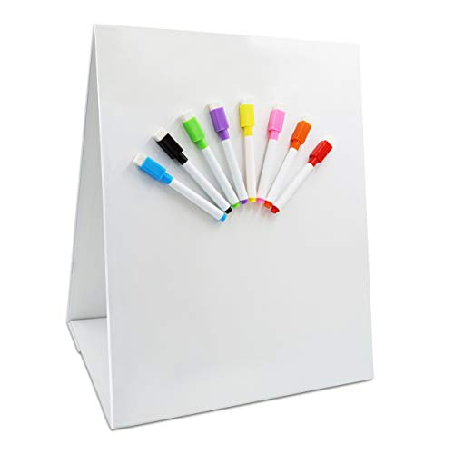 """Magnetic Tabletop Desktop Easel &Whiteboard with Bonus 8X Dry Erase Markers. Double Sided and Self-Standing (13"""" X 12"""")"""