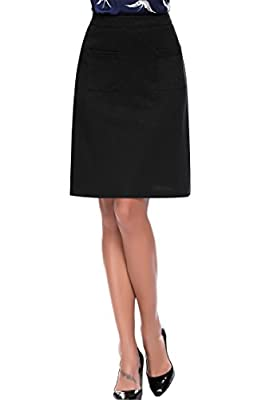 Midi Pencil Skirt, Women's Stretchy High Waist Knee Length Vintage A-line Skirts, Black/Blue/Red