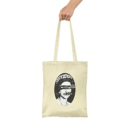 "Bolsa de tela ""God Save The Queen"" - tote bag shopping bag 100% algodón LaMAGLIERIA, Natural"