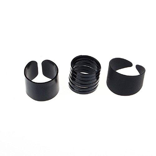 Mandystore 3Pcs/Set Simple Knuckle Rings Trendy Punk Cool Black Metal Ring for Women -