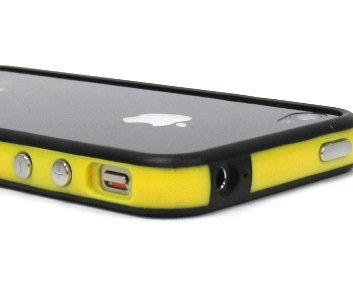 SANOXY Yellow/Black Hard Plastic Rubber Bumper Case Cover with Metal Buttons Fit For iPhone 4 4S