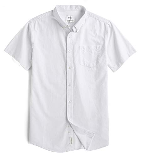 - Mocotono Men's Short Sleeve Oxford Button Down Casual Shirt, White, XX-Large