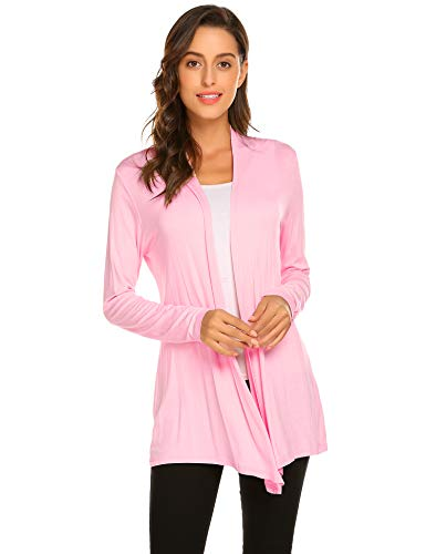 Newchoice Women's Soft Drape Lightweight Long Sleeve Cardigan Sweaters Loose Casual Open Front Cardigan Dusters (Pink, L)
