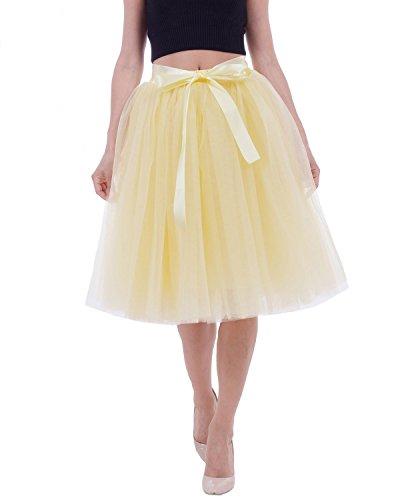 Comall Femme Jupon sous Robe Jupe Tutu en Tulle 7 Couches 65cm Rtro Vintage Petticoat Jaune