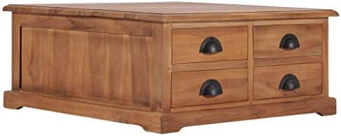 Uitverkoop Tidyard salontafel bijzettafel koffietafel in koloniale stijl salontafel ladenkast met 4 laden, eetkamertafel sideboard commode 68 x 68 x 30 cm, massief teak  HrgjAUv