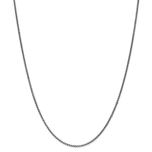 Mia Diamonds 14k Solid White Gold 1.4mm Solid Diamond-Cut Spiga Necklace Chain -18