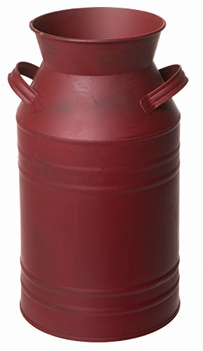 Farmhouse Burgundy Red Milk Bucket Primitive Jug Can with Handles - 11 Inches ()