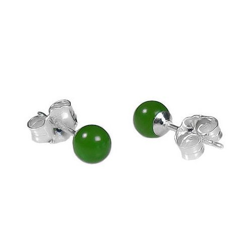 4mm Natural Nephrite Green Jade Ball Stud Post Earrings 925 Sterling Silver (Color Jade Earring)
