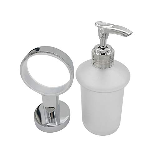Bathroom Lavatory Soap Lotion Dispenser Pump Wall Mount with SUS304 Stainless Steel Holder (Bathroom Wall Mount Soap Holder)