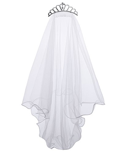 Flower Girls White First Communion Veil Headband with Bow (One size, White (Crown))]()
