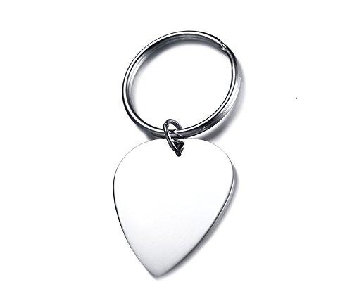 Engravable Heart - Personalized Custom Engraving Stainless Steel Heart Shaped Pendant Key Chain Gift for Women Men