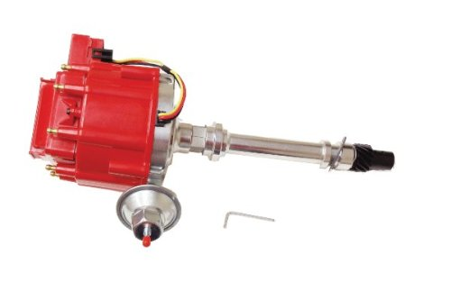 Proheader PE322R - Chevy HEI V8 Distributor with Adjustable Vacuum Advance 50k Red