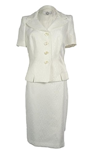 (Le Suit Women's Boboli Gardens Floral Jacquard Skirt Suit Set (8, Vanilla))
