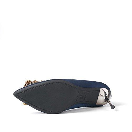 Sandali Alti Talloni Delle Donne Sexy Blu Scarpe Sposa Scarpe Da Sposa Di Corte Ha Sottolineato Tacco Sottile Partito Discoteca Partito Blu (8,5 Centimetri)