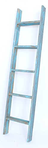 BarnwoodUSA Reclaimed Wood Bookcase Ladder (5 Foot, Turquoise)