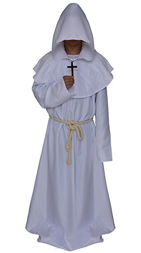 Medieval Monk Robe Cosplay Halloween Hooded Cape Costume Cloak White -