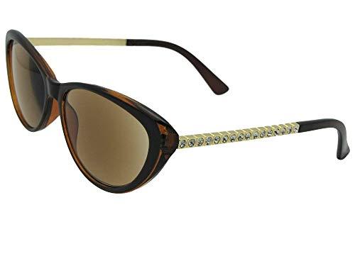 Elegant Cat Eye Rhinestone Womens Full Lens Reading Sunglasses R103 (Brown/Gold Frame Brown Lenses, 1.50) (Rhinestone Glasses Reading Brown)