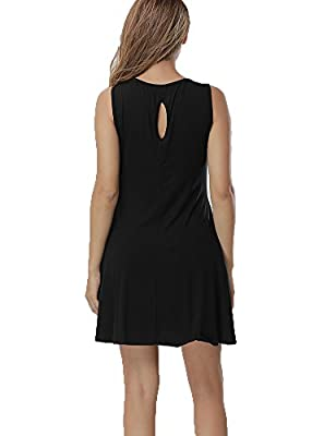 Haola Women's Backless Sleeveless with Pocket Short Dress Casual Loose Fit Dresses