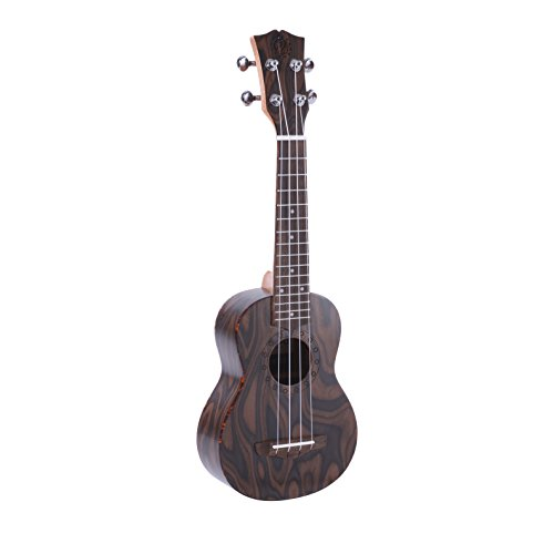 Pyle Mahogany Wood Soprano Ukulele - Flamed Brown Body, Black Walnut Fingerboard and Bridge - Standard 4 String Starter Hawaiian Uke Guitar Easy for Beginners to Learn and Play - PUKT55