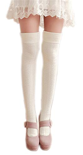 AnVei-Nao Womens Girls Winter Over Knee Leg Warmer Knit Crochet Socks Leggings White