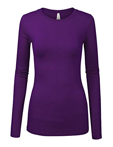 Womens Basic Grape Colors Slim Fit Long Sleeve Round Neck Top (1100-GRAPE-L)