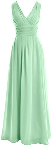 Minze Party Bridesmaid MACloth Wedding Gown Long V Women Dress neck Formal Chiffon 4qxXTPw8q