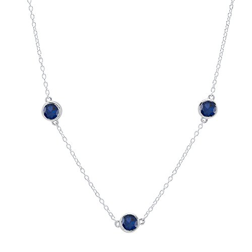Dazzlingrock Collection 1.00 Carat (ctw) Round Blue Sapphire Ladies Necklace 1 CT, Sterling Silver