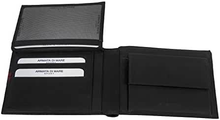 Wallet man ARMATA DI MARE black in leather with flap and coin purse A5415