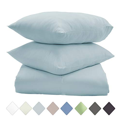 Callista King Size Duvet Covers and Pillowcases | Elegant Cotton |Luxury Super Soft Comfy Sateen Duvet Cover Sets |Hypoallergenic | 400 Thread Count 3 Pc King Bedding Set -Light Blue