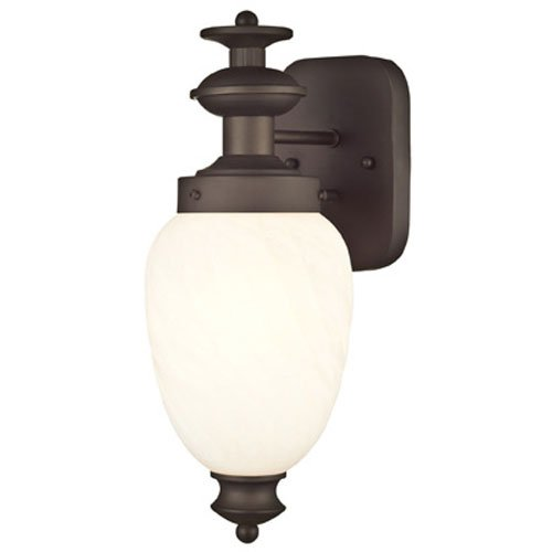 Westinghouse Lighting 6230800 Naveen One-Light Exterior Wall Lantern on Steel with White Alabaster Glass, Oil Rubbed Bronze -