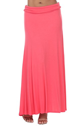 coul J WS801 Women's Rayon Span Fold Over Waist Long Maxi Skirt - Coral/Size: XXX-Large ()