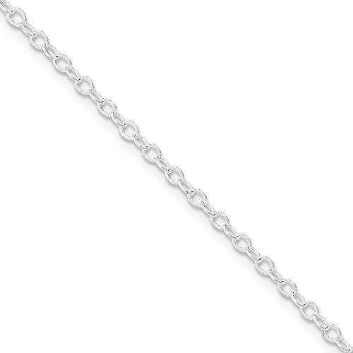 Open Oval Link Necklace - 2.5mm Sterling Silver Flat Open Cable Chain Necklace, 24 Inch