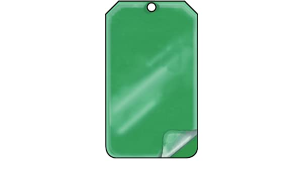 Green Accuform MDT527LPP Self-Laminating Solid Color Blank Tag 5.75 Length x 3.25 Width x 0.015 Thickness Pack of 25 RP-Plastic