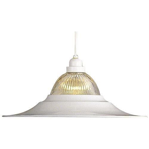 "National Brand Alternative 560804 Pendant Ceiling Fixture with Ribbed Glass and Maximum One 150W Incandescent Medium Base Bulb, 18"", White"