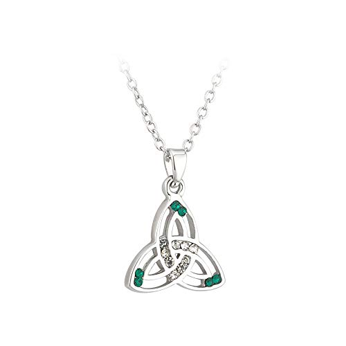 (Biddy Murphy Jewelry Trinity Knot Necklace Rhodium Plated & Green Crystals Made in Ireland)