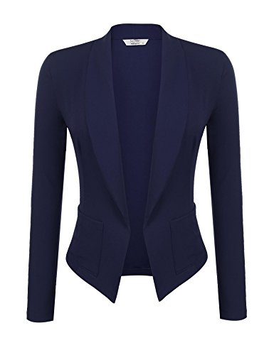 Soteer Women Solid Stretch 3/4 Gathered Sleeve Open Blazer Jacket Navy Blue L - Tweed Fitted Blazer