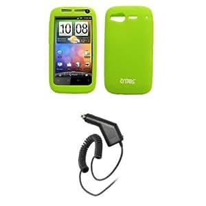 Empire Neon Verde silicona Skin funda de silicona + Cargador de coche (Cla) para HTC Desire S