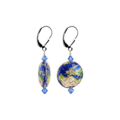 925 Sterling Silver Leverback Drop Earrings Handmade with Cloisonne Beads and Swarovski Crystals