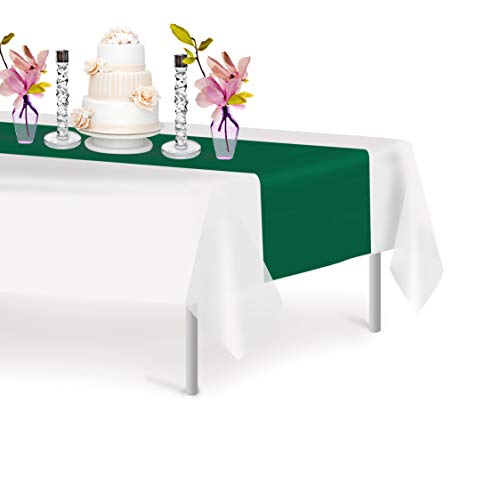 Dark Green 12 Pack Premium Disposable Plastic Table Runner 14 x 108 Inch. Decorative Table Runner for Dinner Parties & Events, Decor By Grandipity