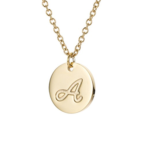 HUAN XUN Stainless Steel Initial Engraved Disc Necklace Alphabet Letter A - Initial Disc Necklace