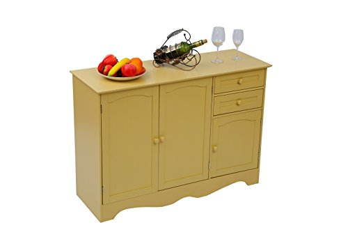 Home-Like Kitchen Buffet Wood Storage Cabinet Sideboard Kitchen Island Buffet Table Free Standing Home Furniture3 Drawers and 3 Cabinets for Additional Storage Space Yellow Color (Freestanding Island)