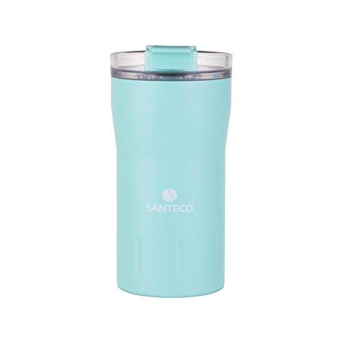 (SANTECO Kariba Thermal Tumbler,Double Walled Vacuum Insulated Leakproof Flip Lid Travel Coffee Mug,12oz,Mint Green)