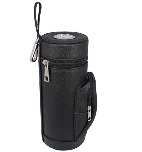 AMANCY Premium Handy Black Leather Travel Cigar Humidor Case with Accessory Pocket, Conveniently Carry Lighter and Cutter
