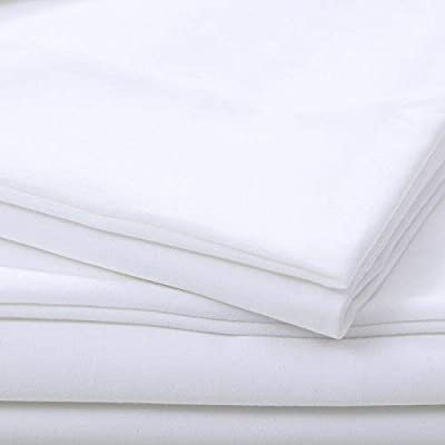 Image of 4 Piece Farmhouse White Cotton Sheets, Beautiful Weave Solid Color Pattern Silky Soft Comfortable Warm Bed Sheets Cal King, Winkle Stain Resistant Deep Pocket Fitted Sheet Farmhouse Bedding Home and Kitchen