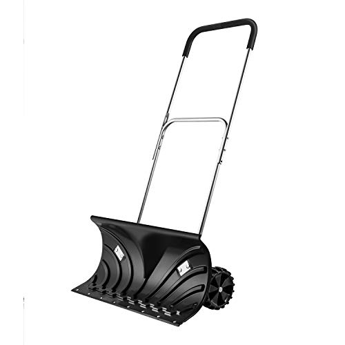 ORIENTOOLS Heavy Duty Snow Shovel, Rolling Adjustable Snow Pusher with 6″ Wheels, Efficient Snow Plow Suitable for Driveway or Pavement Clearing (25″ Blade)