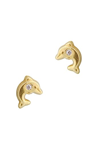 Gold Dolphin Post Earrings - 3