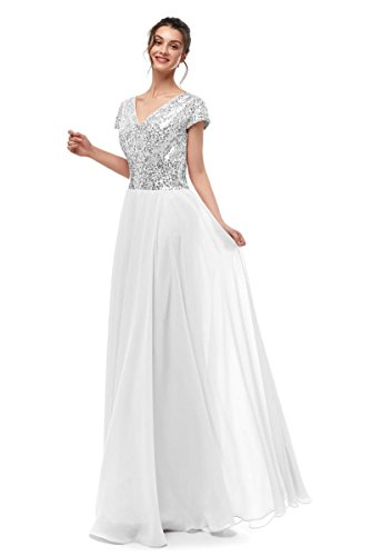 Dannifore Silver Sequin White Chiffon Cap Sleeve Empire Waist Formal Evening Gowns Long Women Bridesmaid Dress,Size ()