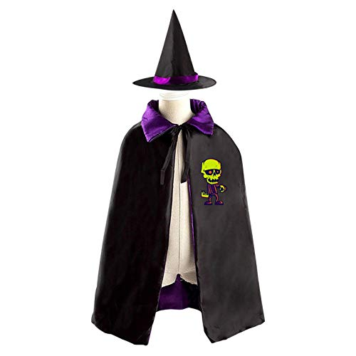 69PF-1 Halloween Cape Matching Witch Hat Green Zombie Wizard Cloak Masquerade Cosplay Custume Robe Kids/Boy/Girl Gift Purple